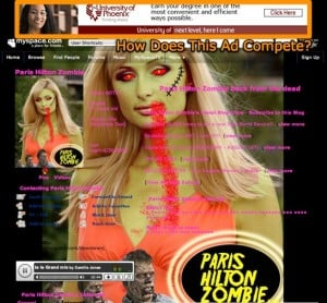 myspacecom paris hilton zombie 31 female va wwwmyspacecom downtownj 300x278 3 Reasons Why Social Networks Are Bad Ad Buys