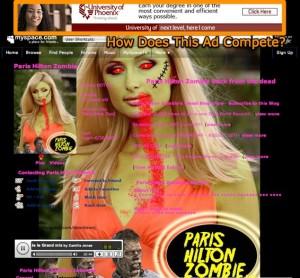 myspacecom paris hilton zombie 31 female va wwwmyspacecom downtownj 300x278 3 Reasons Why Social Networks Are Bad Ad Buys