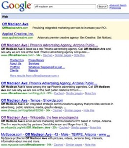 off madison ave google search 262x300 91% of Top Digital Agencies Not Buying Their Own Brands on PPC