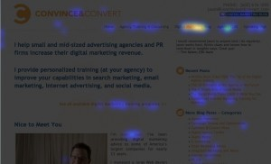 heat map 52888 e28094 crazy egg 300x182 Digital Agency Toolkit   Use CrazyEgg to Test Web Layouts