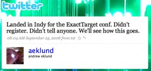 twitter   andrew eklund  landed in indy for the exa 300x142 Why Twitter Is the Anchor of the Social Media Team
