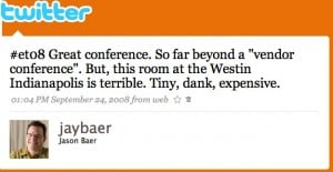 twitter   jason baer  et08 great conference so 300x155 Why Twitter Is the Anchor of the Social Media Team