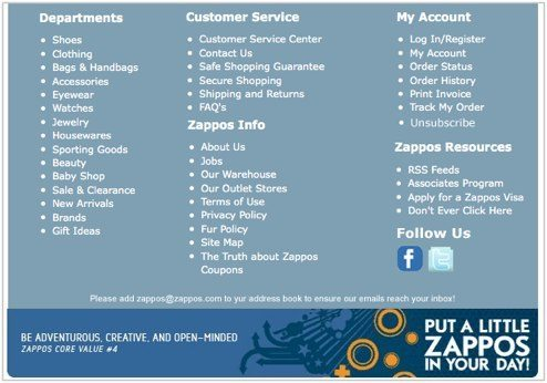 zappos footer after 1 Is Zappos Email as Good as Their Social Media?