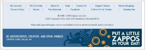 zappos footer before 1 Is Zappos Email as Good as Their Social Media?