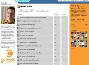 Twitter   Lists following jaybaer 300x221 What Do Twitter Lists Say About Your Personal Brand?