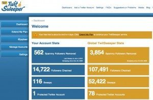 TwitSweeper Dashboard1 300x197 New Twitter Killer Bans the Spam