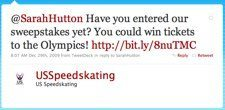 Twitter   US Speedskating  @SarahHutton Have you ente ... US Speedskating Finds Fans In Social Media