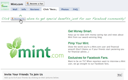 Facebook Mint.com  Does Your Facebook Page Have a Pulse?