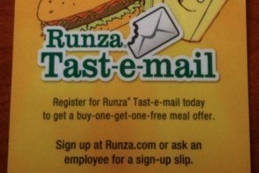 runza in store.jpg Runza Combines Social Media and Email   Something to Chew On