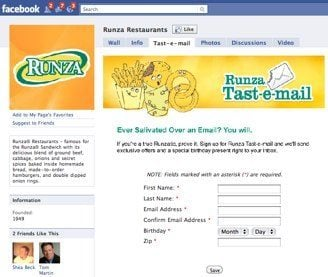 runza Runza Combines Social Media and Email   Something to Chew On