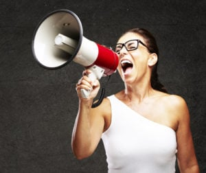 megaphone lady 300x252 The Only 4 Reasons Agencies Should Care About Their Own Content Marketing