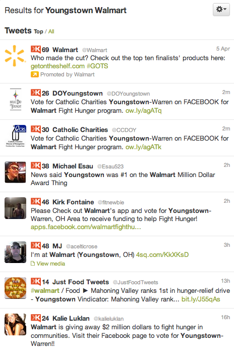 Twitter Youngstown Walmart Fight Hunger Contest