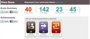 becky cortino klout score 300x129 Social Pros 14   Jason Falls, Social Media Explorer