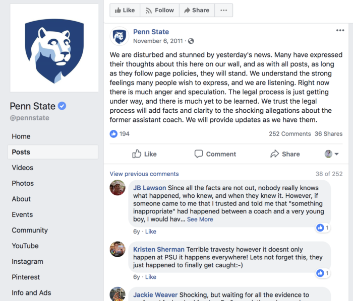penn state social media crisis