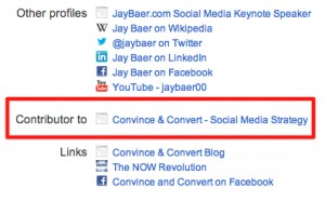 Jay Baer Google Plus Contributor 300x186 Boosting Content and Fighting Spam Using Google Author Rank