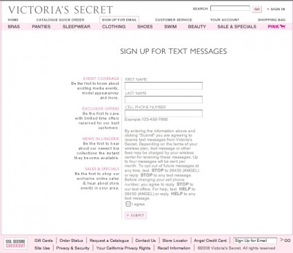 mobile marketing victorias secret