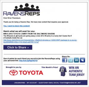 RavensReps SampleEmail e1352685987446 Social Toaster vs Zuberance   2 Ways to Activate Social Advocates