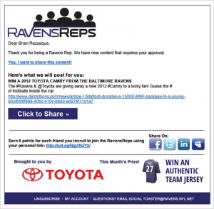 RavensReps SampleEmail e1352685987446 Social Toaster vs Zuberance   2 Ways to Activate Social Advocates