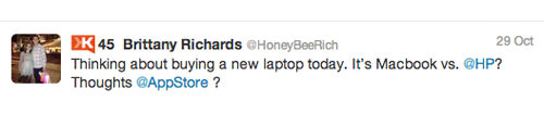 Brittany HP Apple inter 4 Customer Service Lessons from the Biggest Brands on Twitter