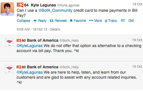Kyle BankofAmerica Interact 4 Customer Service Lessons from the Biggest Brands on Twitter