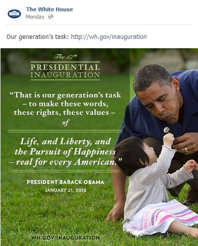 WhiteHouse The White House Commemorates the Presidential Inauguration on Facebook