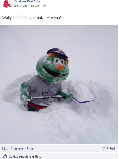 Boston Red Sox Wally Winter Storm The Boston Red Sox and New England Patriots Spark a Snowstorm of Engagement