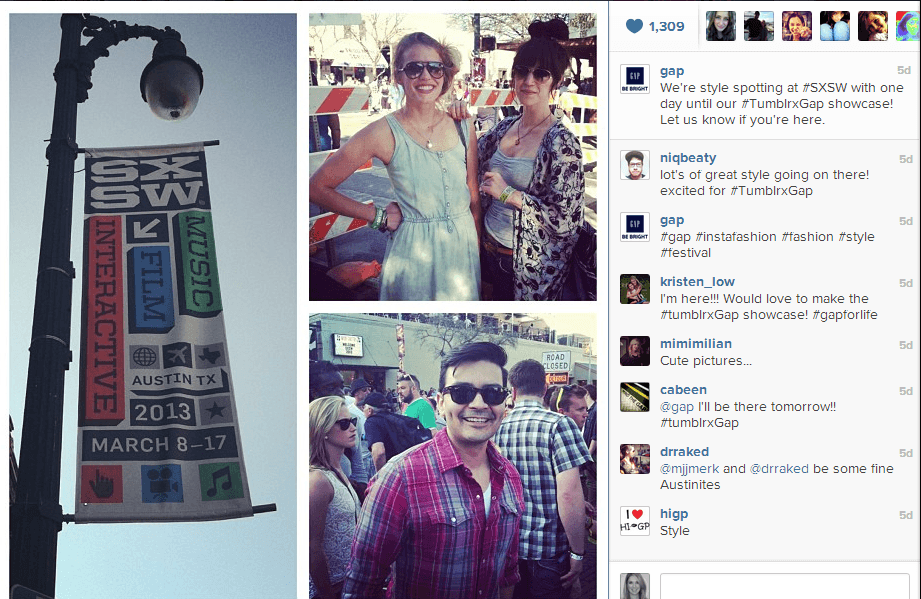 Gap Instagram1 How Gap Activated Its SXSW Presence