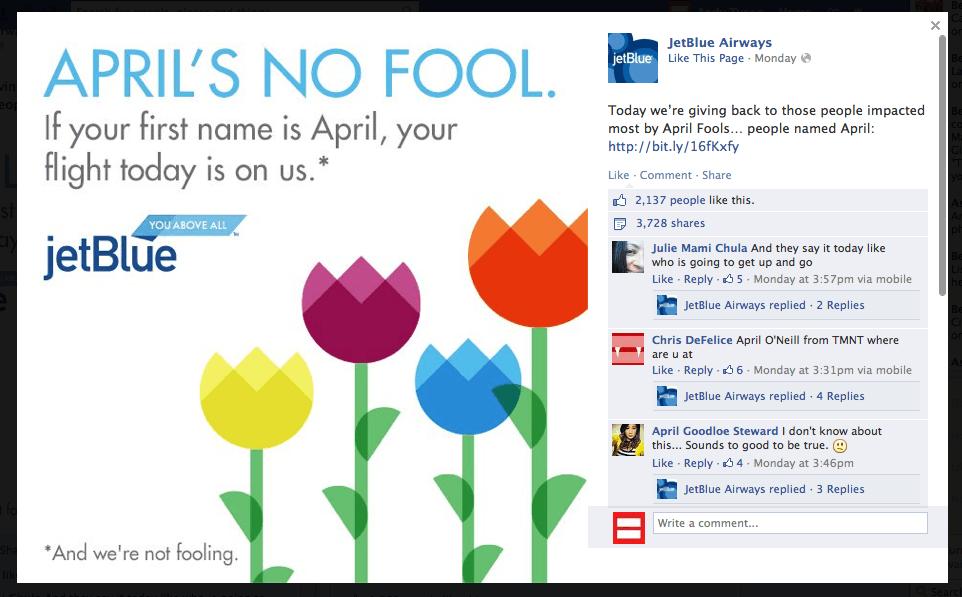 Jetblue JetBlue Proves That April is No Fool