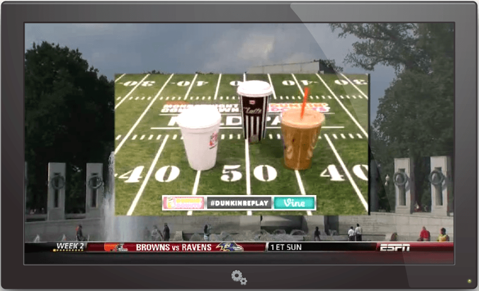 DunkinReplay ESPN OnAirBillboard TouchDDown! Dunkin' Donuts Introduces First Vine Ad On A Professional Broadcast