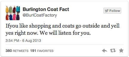 Burlington Coat Factory Parody Twitter Account