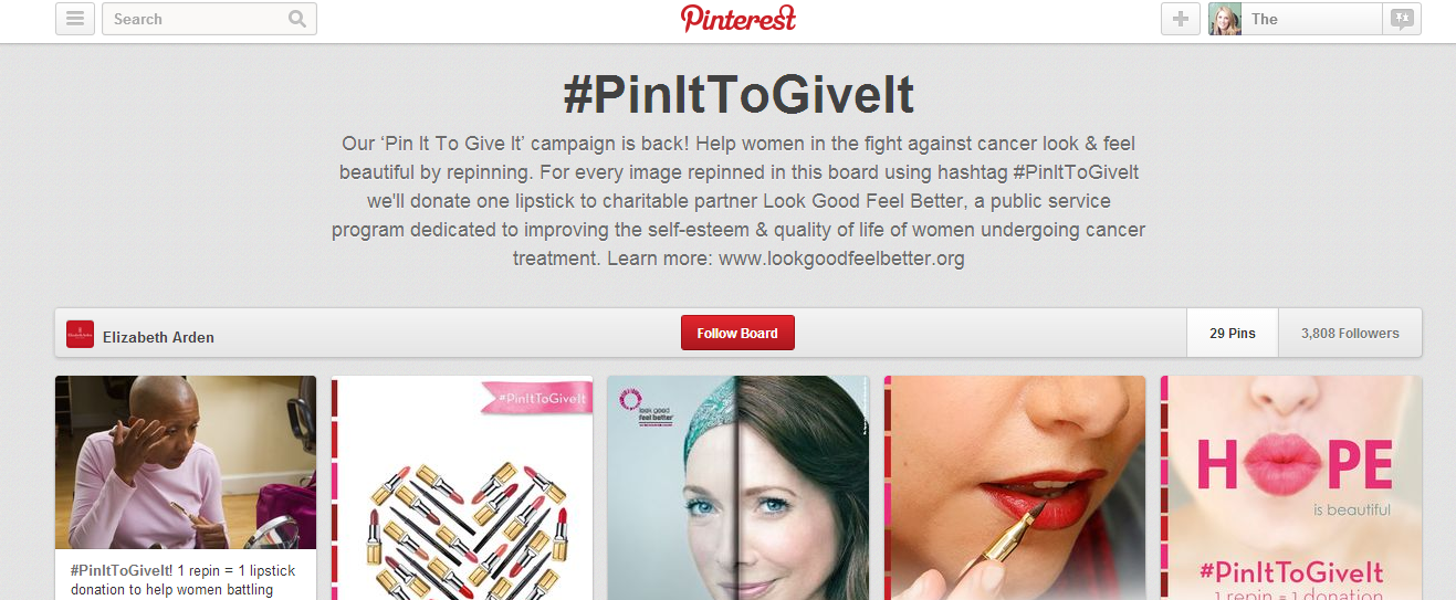 "ElizabethArden1 Elizabeth Arden Brings Back Successful ""Pin It To Give It"" Campaign"