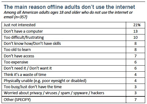 15% of Americans do not use internet