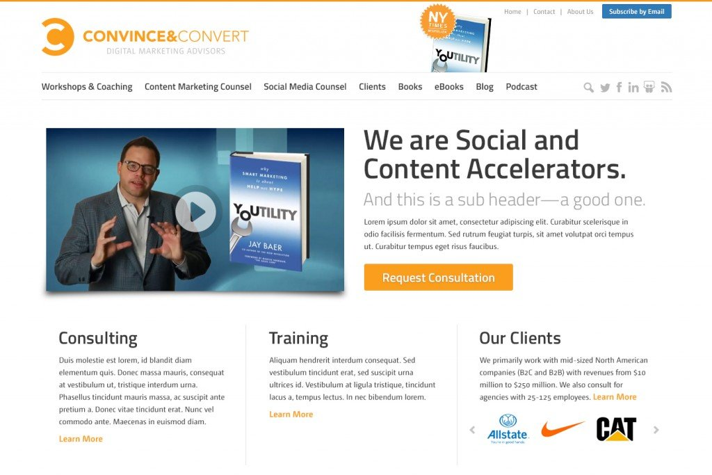 Redesigned Convince & Convert Homepage