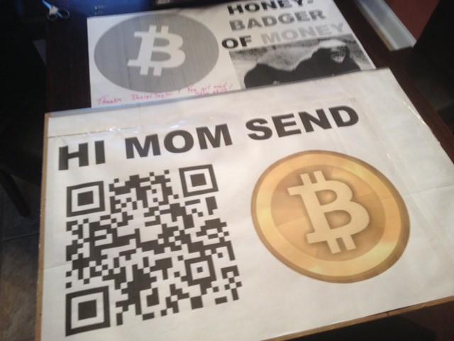 Hi Mom Send Bitcoin sign