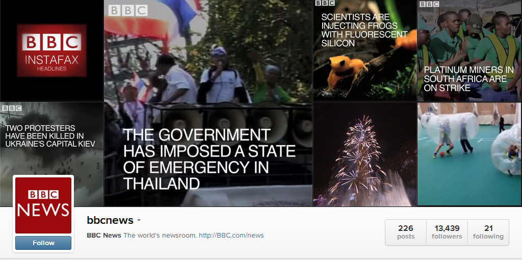 BBCInstafax1 The BBC Experiments With Video News Coverage on Instagram