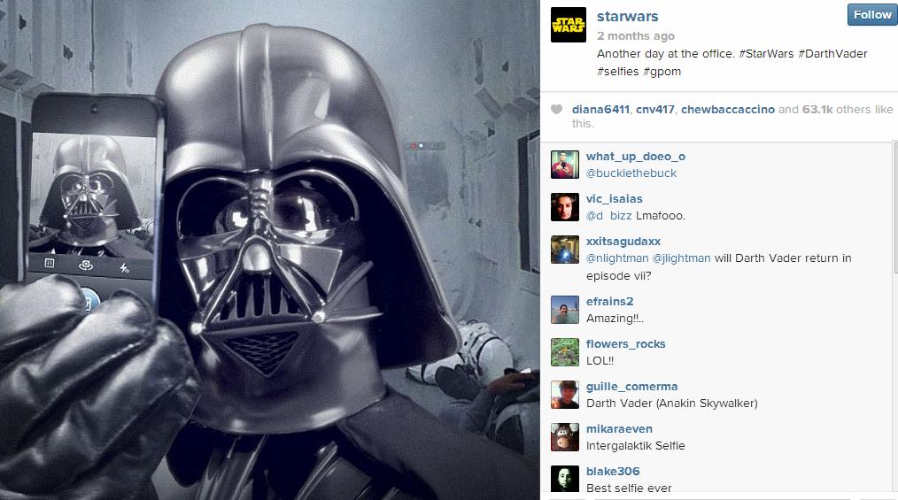 StarWars 5 Creative Examples of Selfies as Social Media Content