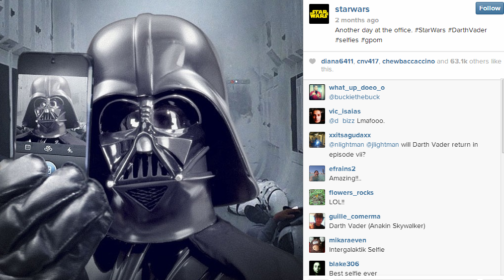 StarWars 5 Creative Examples of Selfies as Social Media Content