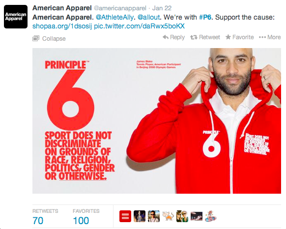 Screenshot 2014 02 12 14.39.52 How Molson, Airbnb, and American Apparel Scored Social Media Gold in Sochi