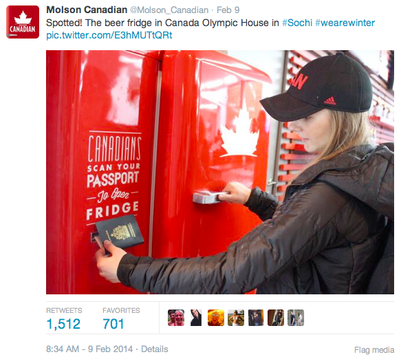 Screenshot 2014 02 12 14.40.02 How Molson, Airbnb, and American Apparel Scored Social Media Gold in Sochi