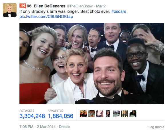 Ellen DeGeneres' Oscar selfie tweet