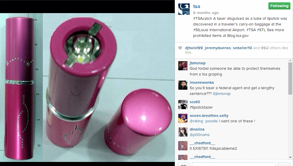TSA Instagram Lipstick Taser A PSA From The TSA On Instagram: #TSACatch Shows Photos Of What Not To Pack