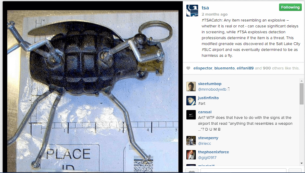 TSA Instagram Toy Grenade A PSA From The TSA On Instagram: #TSACatch Shows Photos Of What Not To Pack