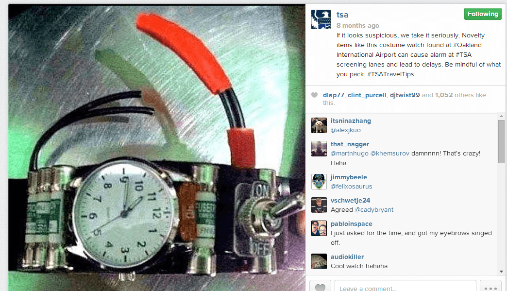 TSA Instagram Watch A PSA From The TSA On Instagram: #TSACatch Shows Photos Of What Not To Pack