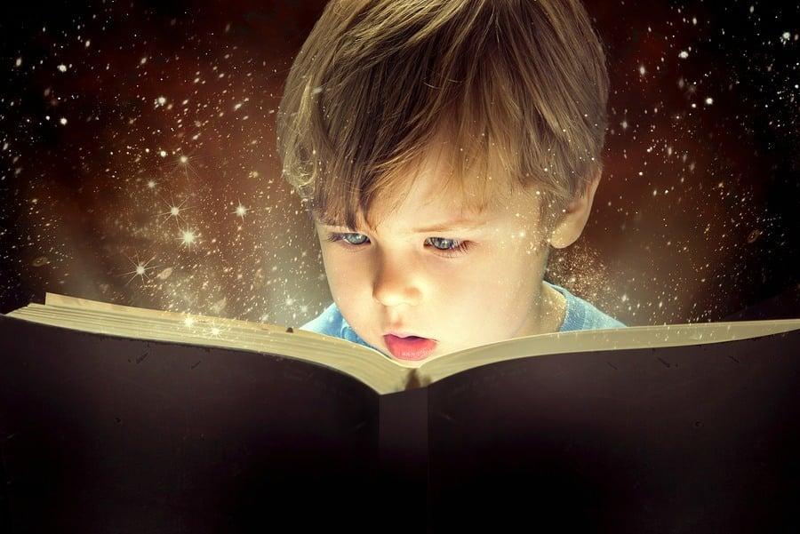 Child opened a magic book