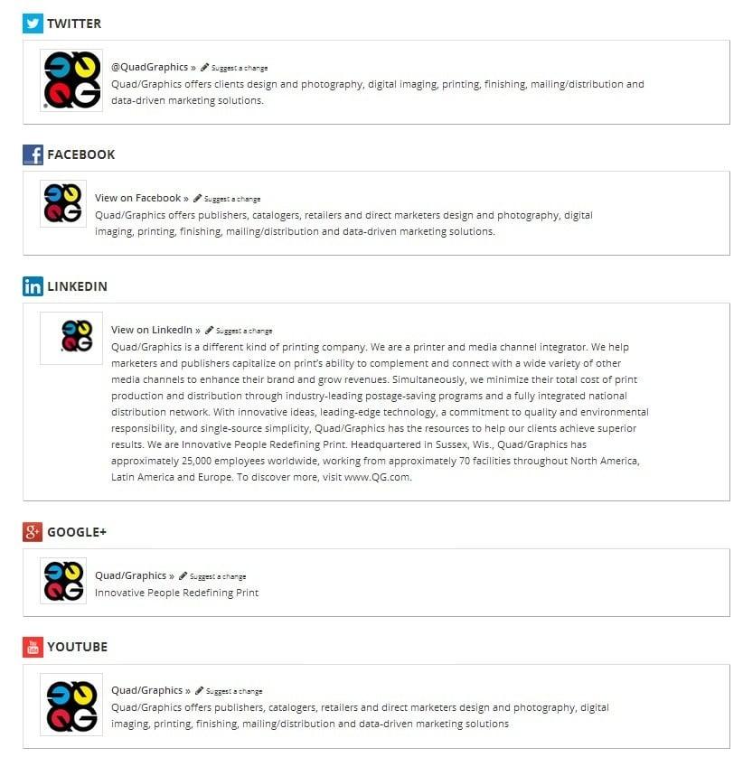 QuadGraphics social presence