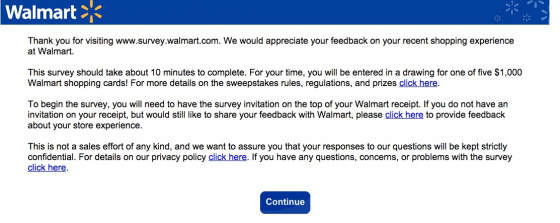 Survey Reward - Walmart