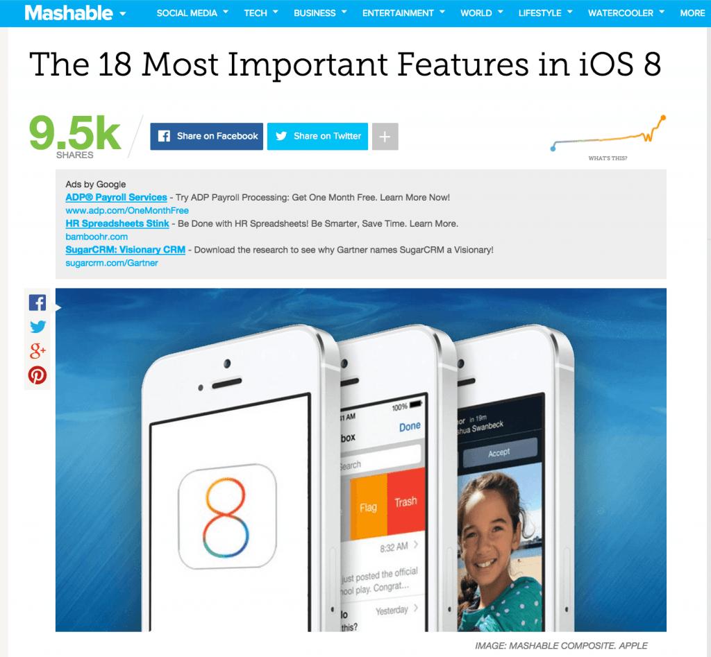 Visualization - Mashable News Post
