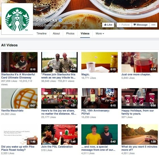 Facebook video - Starbucks