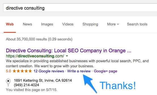 write a review google search result