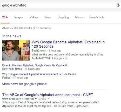 Google Alphabet search screenshot